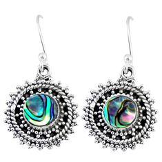2.72cts natural green abalone paua seashell 925 silver dangle earrings r55191