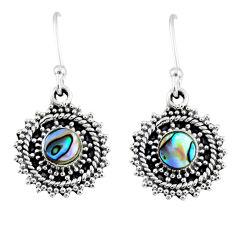 1.74cts natural green abalone paua seashell 925 silver dangle earrings r55198