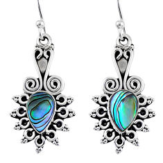 3.87cts natural green abalone paua seashell 925 silver dangle earrings r55205