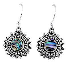 4.06cts natural green abalone paua seashell 925 silver dangle earrings r55224