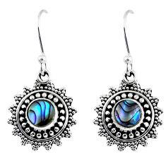 1.91cts natural green abalone paua seashell 925 silver dangle earrings r55226