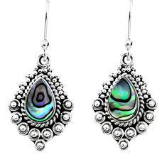 4.28cts natural green abalone paua seashell 925 silver dangle earrings r55251