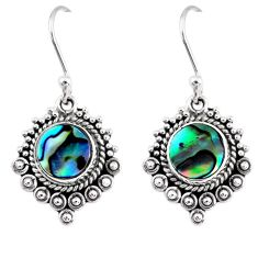 4.43cts natural green abalone paua seashell 925 silver dangle earrings r55262