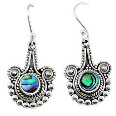 2.21cts natural green abalone paua seashell 925 silver dangle earrings r55288