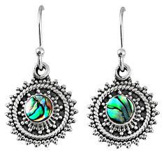 1.47cts natural green abalone paua seashell 925 silver dangle earrings r59510