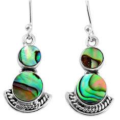 4.88cts natural green abalone paua seashell 925 silver dangle earrings r59529