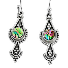 1.21cts natural green abalone paua seashell 925 silver dangle earrings r59548