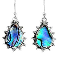 7.48cts natural green abalone paua seashell 925 silver dangle earrings r59666