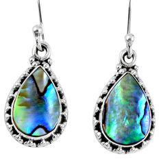 7.42cts natural green abalone paua seashell 925 silver dangle earrings r59690
