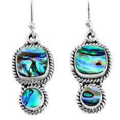 8.28cts natural green abalone paua seashell 925 silver dangle earrings r59809