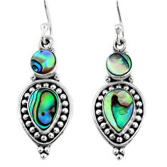 6.32cts natural green abalone paua seashell 925 silver dangle earrings r59827