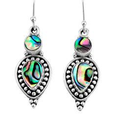 6.54cts natural green abalone paua seashell 925 silver dangle earrings r59829