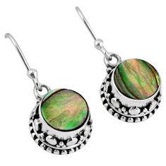 4.42cts natural green abalone paua seashell 925 silver dangle earrings r60141