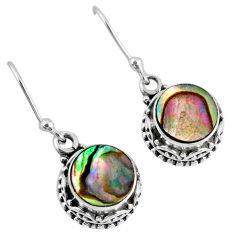 4.69cts natural green abalone paua seashell 925 silver dangle earrings r60142