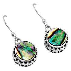 4.25cts natural green abalone paua seashell 925 silver dangle earrings r60146