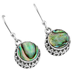 4.49cts natural green abalone paua seashell 925 silver dangle earrings r60147