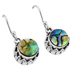 4.94cts natural green abalone paua seashell 925 silver dangle earrings r60153