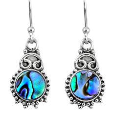 3.91cts natural green abalone paua seashell 925 silver dangle earrings r60426