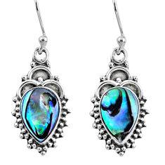 4.38cts natural green abalone paua seashell 925 silver dangle earrings r60444