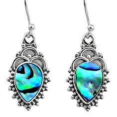 4.08cts natural green abalone paua seashell 925 silver dangle earrings r60446