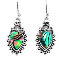4.08cts natural green abalone paua seashell 925 silver dangle earrings r60447