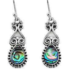 5.11cts natural green abalone paua seashell 925 silver dangle earrings r60466