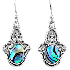 4.93cts natural green abalone paua seashell 925 silver dangle earrings r60487