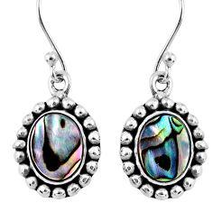 4.69cts natural green abalone paua seashell 925 silver dangle earrings r60488