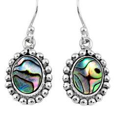 4.69cts natural green abalone paua seashell 925 silver dangle earrings r60489