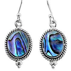4.84cts natural green abalone paua seashell 925 silver dangle earrings r60522