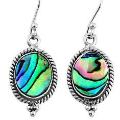 4.84cts natural green abalone paua seashell 925 silver dangle earrings r60525