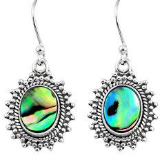 5.82cts natural green abalone paua seashell 925 silver dangle earrings r60587