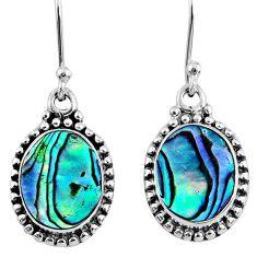 5.54cts natural green abalone paua seashell 925 silver dangle earrings r60588