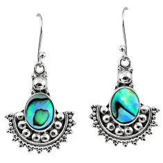5.87cts natural green abalone paua seashell 925 silver dangle earrings r60601