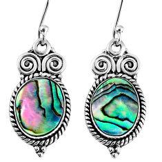 6.36cts natural green abalone paua seashell 925 silver dangle earrings r60625