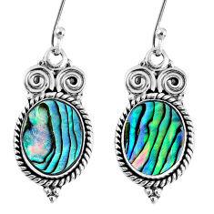 6.36cts natural green abalone paua seashell 925 silver dangle earrings r60626