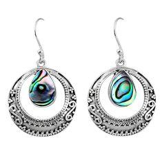 4.39cts natural green abalone paua seashell 925 silver dangle earrings r60968