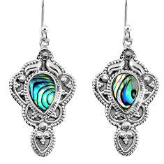 3.98cts natural green abalone paua seashell 925 silver dangle earrings r60970