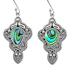 4.55cts natural green abalone paua seashell 925 silver dangle earrings r60981