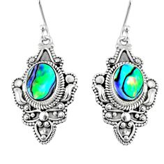 4.82cts natural green abalone paua seashell 925 silver dangle earrings r60983