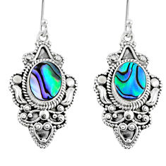 4.83cts natural green abalone paua seashell 925 silver dangle earrings r60985