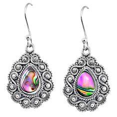 4.21cts natural green abalone paua seashell 925 silver dangle earrings r64101