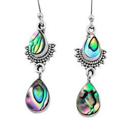5.84cts natural green abalone paua seashell 925 silver dangle earrings r64121