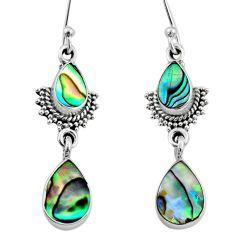 5.46cts natural green abalone paua seashell 925 silver dangle earrings r64122