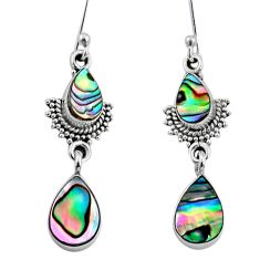 5.84cts natural green abalone paua seashell 925 silver dangle earrings r64123