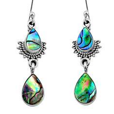 5.84cts natural green abalone paua seashell 925 silver dangle earrings r64125