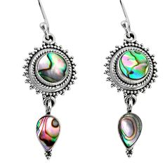7.53cts natural green abalone paua seashell 925 silver dangle earrings r64141