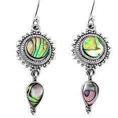 7.59cts natural green abalone paua seashell 925 silver dangle earrings r64142