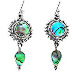7.59cts natural green abalone paua seashell 925 silver dangle earrings r64143