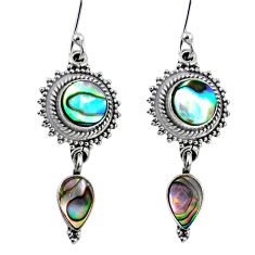 7.89cts natural green abalone paua seashell 925 silver dangle earrings r64145